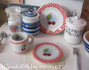 Cherry Gingham Coffee Mug and Plate for Dollhouse