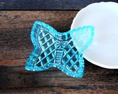 Czech Bohemia Crystal Cut Dish, Blue Butterfly Shape Azule Diamond Pattern Vinrage Vanity Pin Jewelry Holder