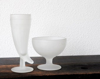 Frosted White Glass Bowl & Horn Beer Pilsner, Vintage 1970s Powder Glassware Barware