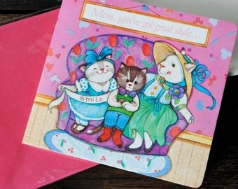 Vintage Avon Greeting Card, Cat 1980s Mothers Day Photo Pouch, Collectible Unused Original Packaging