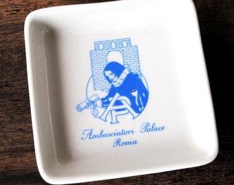 Richard Ginori Palace Hotel Advertising Ashtray, Mid Century Italian ROME Porcelain Tip Tray Pin Dish