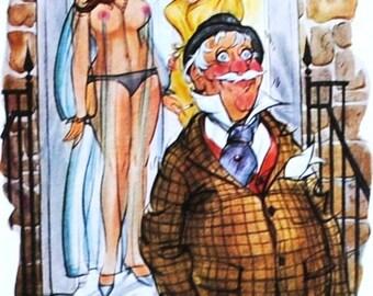 Doug Sneyd Playboy Magazine Cartoon, 1960's Vintage Art Illustration