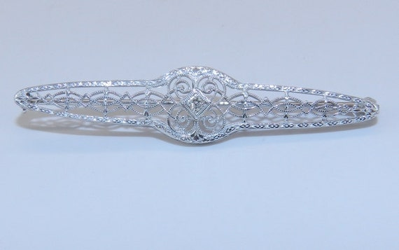 Diamond Brooch Art Deco Pin Antique Filigree Brooch 14K White Gold Genuine Stick Pin Circa 1920s