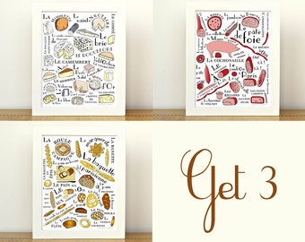 Kitchen Art Posters French Food Craft 3 8x10 art prints Home Decor Cheese lover bread meat gourmet