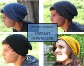 crochet PATTERN- Slouchy beanie- Adult Men and Women's Sizes also Made to Order