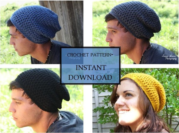Crochet Pattern Slouchy Beanie Adult Men And Womens Etsy