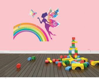 EXTRA LARGE Desihn Art Color Fairy Tale Butterfly Sparkling Rainbow Graphic Picture Living Room Home Deco Sticker Wall Decal 30x30 larg405