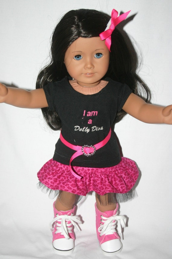 I am a Dolly Diva signature outfit to fit 18 inch american girl or similar doll, t-shirt, skirt, belt, and hairbow