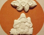 2 Ceramic Bisque Flat Backs for Magnets, Mosaic, Pins  - Flowers and Mushrooms - Ready to Paint  DIY