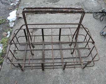 strong sturdy metal vintage antique 1930s gas station OIL BOTTLE CARRIER rack