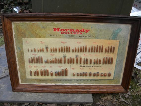 Neat Vintage 50s 60s Oak Framed Hornady Bullet Board Hunting