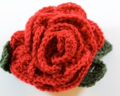 Crochet rose pin or hairclip to raise money for Cystic Fibrosis research