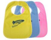 TerryCloth Bib with Akron Ohio Blimp Design (Yellow, Blue, or Pink)