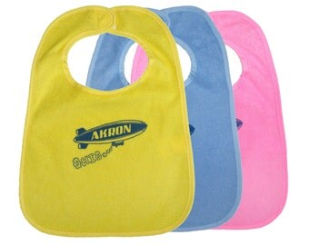 TerryCloth Bib with Akron Ohio Blimp Design (Yellow, Blue, or Pink)