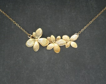 Triple Wildflower Necklace  --  Gold Necklace  --  Flower Necklace