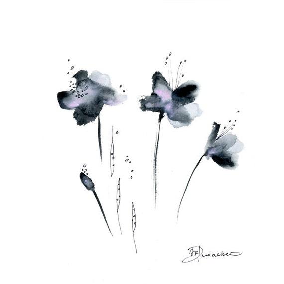 Black Flower Watercolor Art By Tae Lee