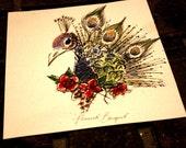 Limited Edition Peacock Bouquet 71/4 x 7 3/4 MINI Illustration