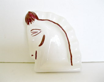 Vintage Ashtray, Horse Head, White Ceramic, Bar Accessory, Handmade, Retro Ashtray