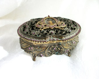 Vintage Jewelry Casket - Purple Rhinestone - Box - Beautiful - Lift off Lid / small size