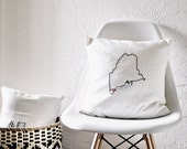 Hand-Embroidered Accent Pillow Cover - Custom State Wedding Pillow  - Bespoke Cushion
