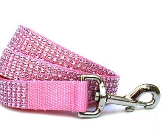 """Pink Dog Leash 1"""" Rhinestone Dog Leash"""