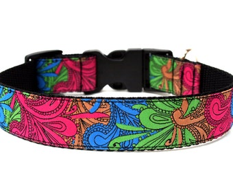 Retro Dog Collar Color Splash Paisley