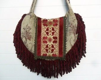 Victorian Bohemian Bag Purse Burgundy Chenille