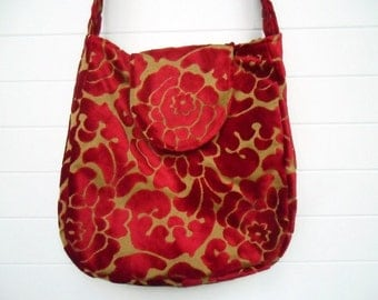 Hippie Bohemian Bag Purse Lipstick Red Cut Velvet