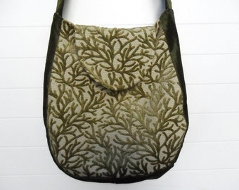 Bohemian Gypsy Bag Purse Olive Apple Green Cut Velvet