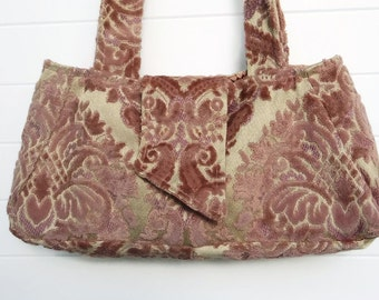 Victorian Gypsy Bag Purse Rose Mauve Cut Velvet