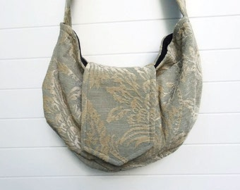 Bohemian Gypsy Bag Purse Robin's Egg Blue and Ivory Chenille
