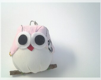 Pink fabric owl keychain , ready to ship.