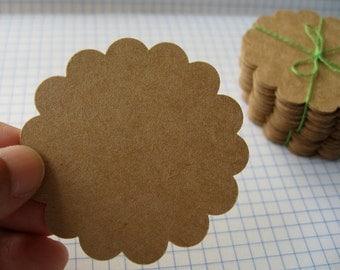 "100 Pcs.  2.25""  Kraft  Paper Scallop Circle Tags , Scallop Round Tags  (no hole)"