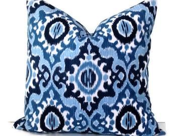 Navy Blue Ikat Decorative Pillow Cover, Throw Pillow, Accent Pillow, 18x18 20x20 12x20, Navy and Cream, Dear Stella Fabric