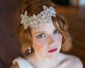 Rhinestone Bridal Headband, Crystal Roaring 20s Boho Headpiece, Ribbon and diamond headband - Great Gatsby