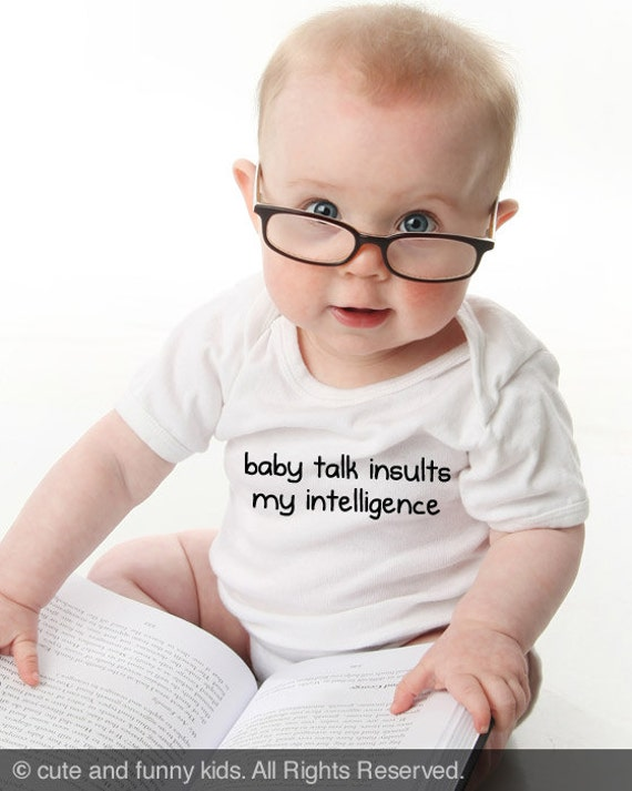 baby talk insults my intelligence - funny saying printed on Infant Baby One-piece