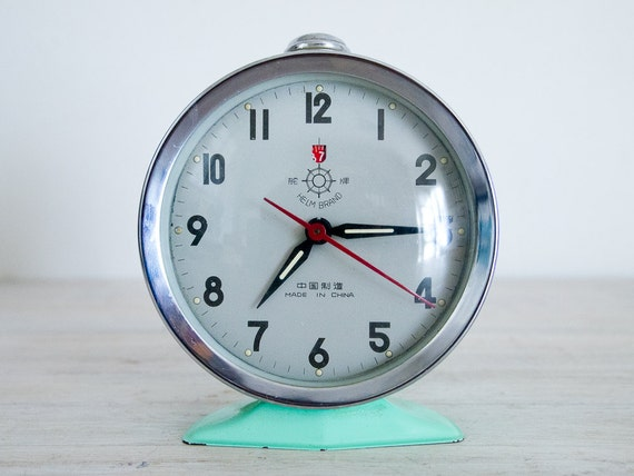 Vintage Sea Green Wind Up Alarm Clock Helm Brand Good