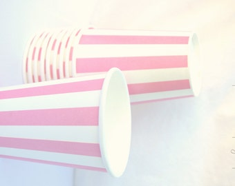 PaRTy CuPsPink Stripe-with free DIY printable label option--Birthday parties---10ct
