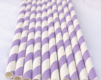 LiGHT PURPLE & WHITE Stripes-- Paper Straws -- 25ct--with Free Printable Flags