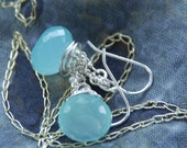 "Aqua Chalcedony & Sterling Silver Wire Wrapped ""Sea Scape"" Dangle Earrings"