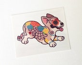 Temporary Tattoos Corgi Day of the Dead / Dia de los Muertos / Halloween Sugar Skull (Set of 2)