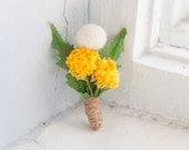 Dandelions Flowers Decorations - Mini Decor -  Mini Flowers Bouquet - Home Decor - Yellow Green