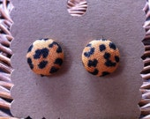 Leopard Print Button Earrings