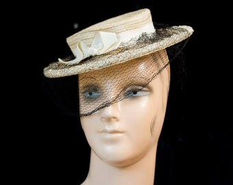 1940s Hat // Tilt Boater Ivory Straw Hat with Veil New York Creation