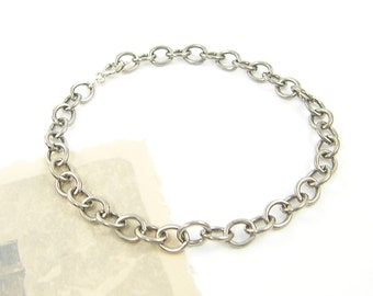 Oxidized Silver Chain Bracelet, Silver Plated Oval Link Chain Bracelet Jewelry |BC2-18