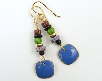 Blue Enamel Earrings, Trade Bead Earrings, African Tribal Earrings Colorful Striped Boho Earrings Ethnic Dangle Earrings |EC3-20