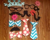 Wedding Photobooth Props - Photo Props - Wedding Photo props - Set of 15 - Coral and Turquoise Hipster  Set