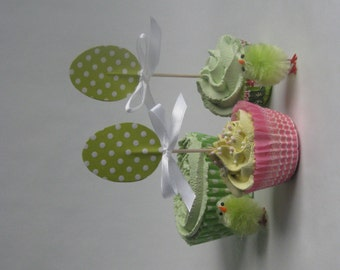 Easter cupcake topper - food pick - tooth pick green glitter polkadot egg with bow 8 pcs