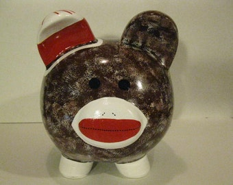 Piggy Bank, Sock Monkey piggy bank, Personalized, Handpainted, Large Piggy Bank - MADE TO ORDER