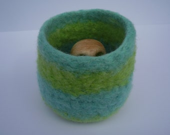 wee felted bowl lime and turquoise striped container